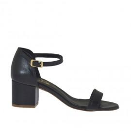 Scarpa aperta da donna in pelle nera con cinturino tacco 5 - Misure disponibili: 33, 42, 43, 44, 45