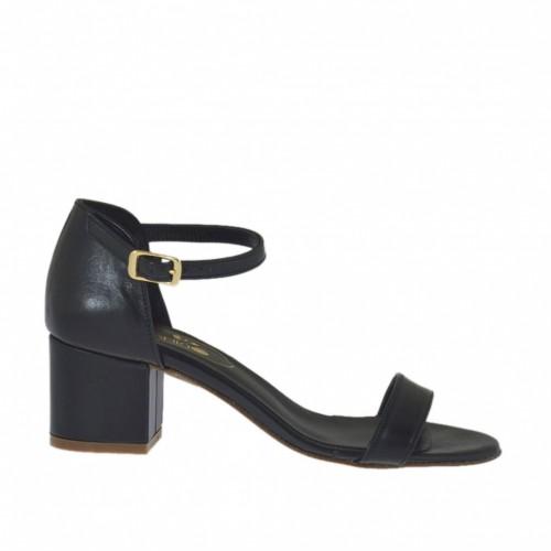 Chaussure ouvert pour femmes avec courroie en cuir noir talon 5 - Pointures disponibles:  42, 43, 45