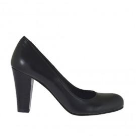 Zapato de salon para mujer en piel negra tacon a cono 7 - Tallas disponibles: 32, 33, 34, 42, 43, 44, 46
