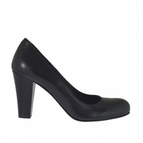 Escarpin pour femmes en cuir noir talon en forme de cône 7 - Pointures disponibles:  33, 42, 43