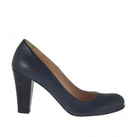 Zapato de salon para mujer en piel azul tacon a cono 7 - Tallas disponibles:  32, 33, 34, 42, 43, 44, 45, 46