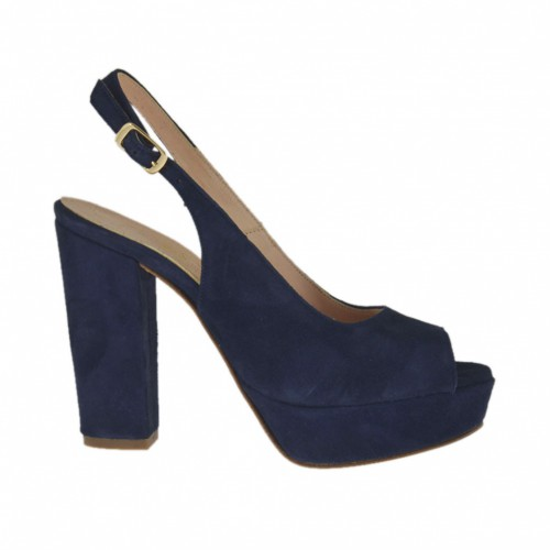 Woman's platform  sandal in blue suede heel 10 - Available sizes:  31, 32, 34, 45, 46