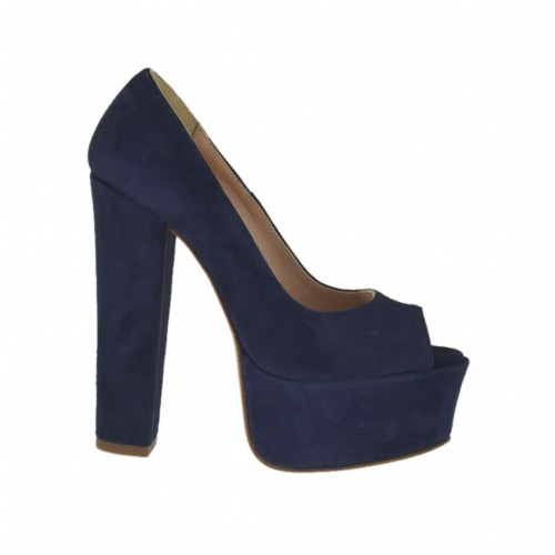 Woman's open toe platform pump in dark blue suede with heel 13 - Available sizes:  31, 33, 34, 42, 43, 44, 46