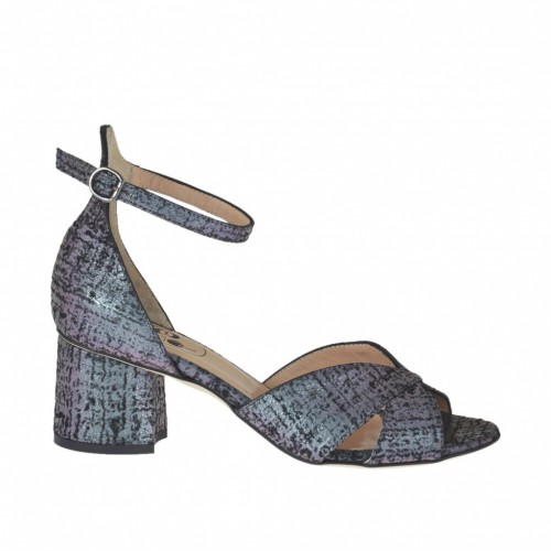 Woman's open shoe with strap in multicolor holographic printed leather heel 5 - Available sizes:  45
