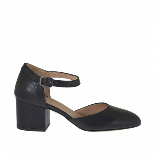 Woman's open strap shoe in black leather heel 5 - Available sizes:  32