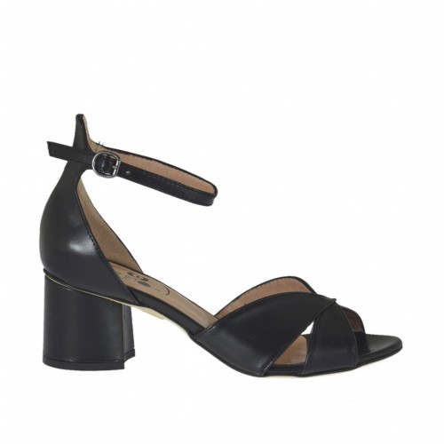 Woman's open-toe strap shoe in black leather heel 5 - Available sizes:  44