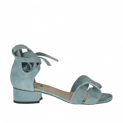 Woman's open shoe with laces in turquoise suede heel 3 - Available sizes:  32