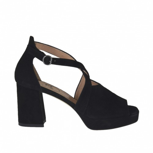 Woman's open shoe with strap and platform in black suede heel 7 - Available sizes:  43, 44, 45