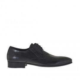 Eleganter Herrenschnürschuh mit Gummibändern spitz-zulaufender Spitze aus glattem schwarzem Leder - Verfügbare Größen: 36, 37, 38, 46, 47, 48, 49, 50