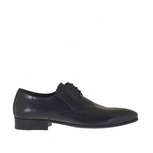 Chaussure elégant effilée à lacets avec elastiques pour hommes en cuir doux noir - Pointures disponibles:  50