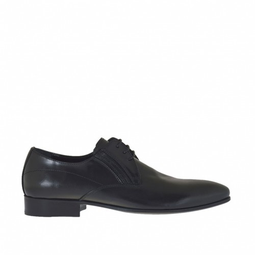 Men's elegant pointy laced shoe with elastic bands in smooth black leather - Available sizes:  48, 50