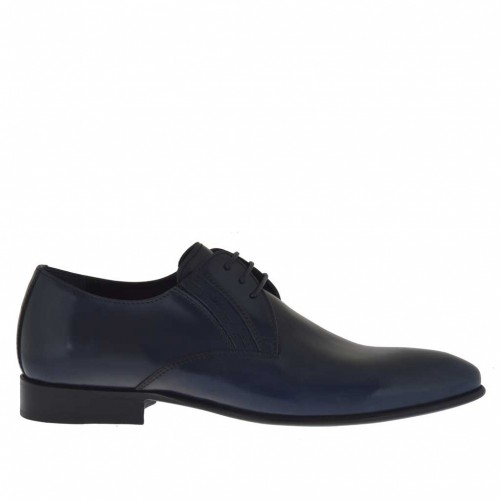 Men's elegant pointy laced shoe with elastic bands in smooth blue leather - Available sizes:  37, 38, 48, 49, 50