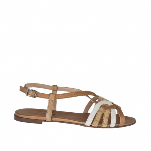 Woman's strap sandal in white and copper leather and cork heel 1 - Available sizes:  32