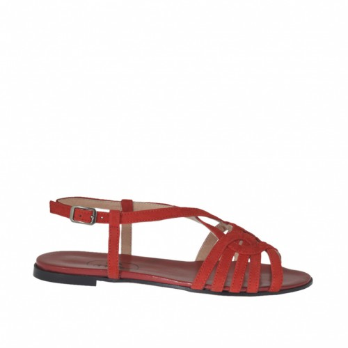 Woman's strap sandal in red suede heel 1 - Available sizes:  32, 33, 45, 46