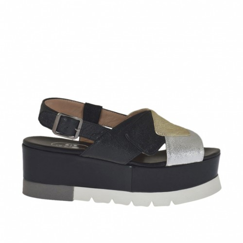 Woman's sandal in black, silver and platinum laminated leather wedge heel 5 - Available sizes:  42