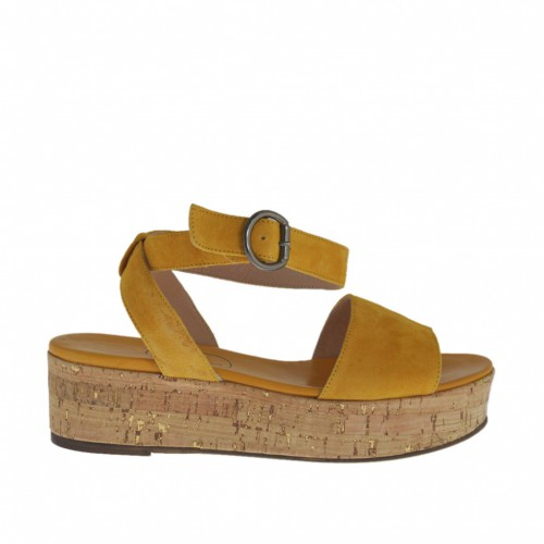 Woman's sandal with anklestrap in ocher suede wedge heel 4 - Available sizes:  42, 44