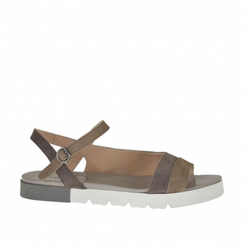 Woman's strap sandal in dove grey and grey suede wedge heel 2 - Available sizes:  32, 43, 44, 45
