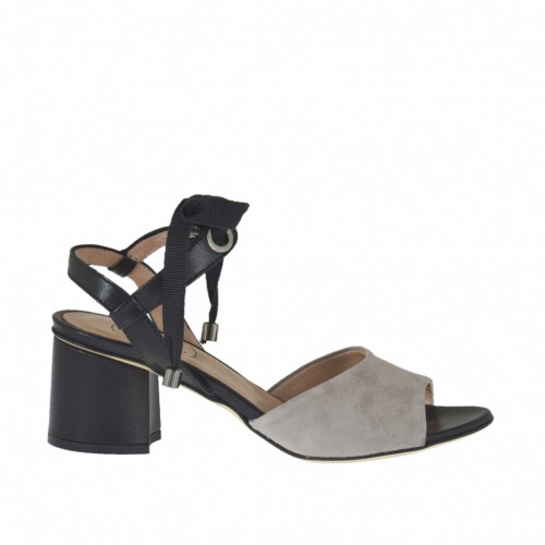 Woman's sandal with laces in grey suede and black leather heel 5 - Available sizes:  45