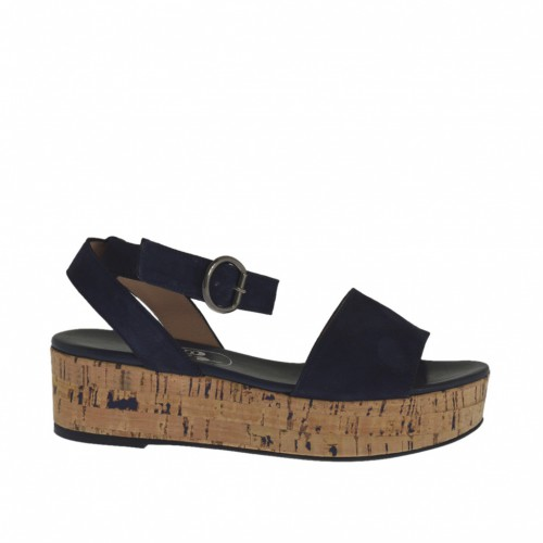Woman's sandal with anklestrap in blue suede wedge heel 4 - Available sizes:  32, 42, 43, 44