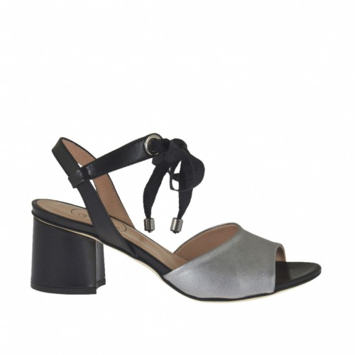 Woman's sandal with laces in black and laminated silver leather heel 5 - Available sizes:  33, 34, 42, 43, 44, 45