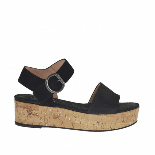 Woman's sandal with strap in black suede and printed suede wedge heel 4 - Available sizes:  34, 44