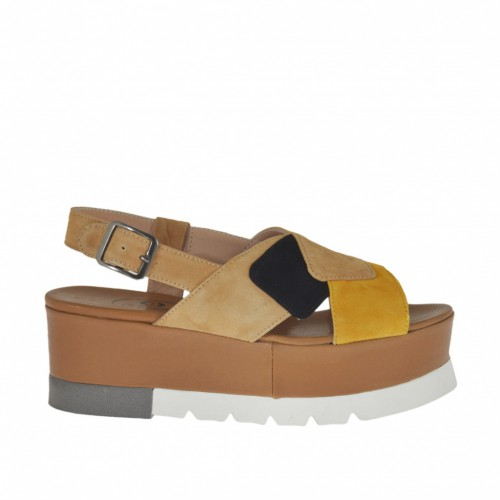 Woman's sandal in beige, black and ocher suede wedge heel 5 - Available sizes:  43