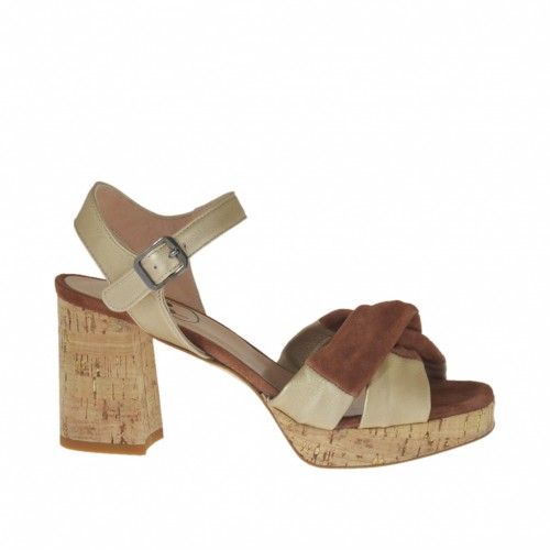 Woman's strap sandal in platinum leather and brown suede with platform and heel 7 - Available sizes:  44, 45