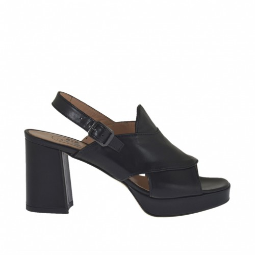 Woman's sandal in black leather with platform heel 7 - Available sizes:  42, 43, 44, 45