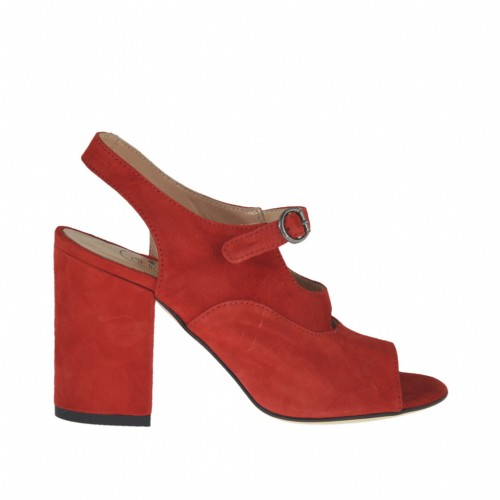Woman's strap sandal in red suede heel 8 - Available sizes:  34, 43