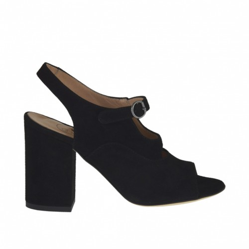 Woman's strap sandal in black suede heel 8 - Available sizes:  32, 33, 42, 44, 45