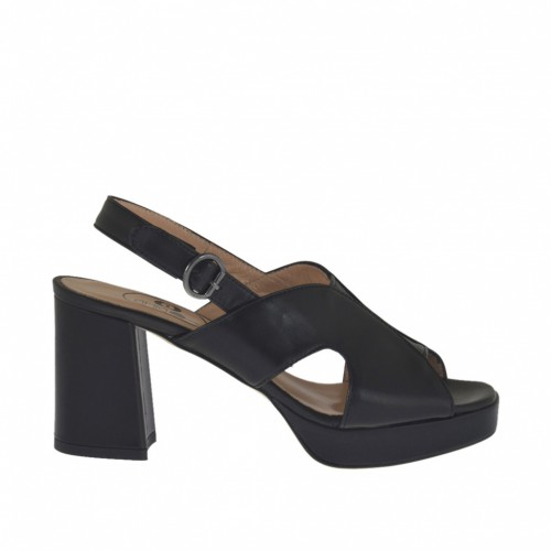 Woman's sandal in black leather with platform and heel 7 - Available sizes:  33, 42, 43, 44, 45
