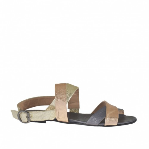 Woman's sandal in platinum, copper and steel laminated leather heel 1 - Available sizes:  32, 33
