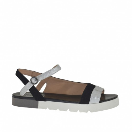 Woman's strap sandal in black suede and silver laminated printed leather wedge heel 2 - Available sizes:  32, 33, 43, 44