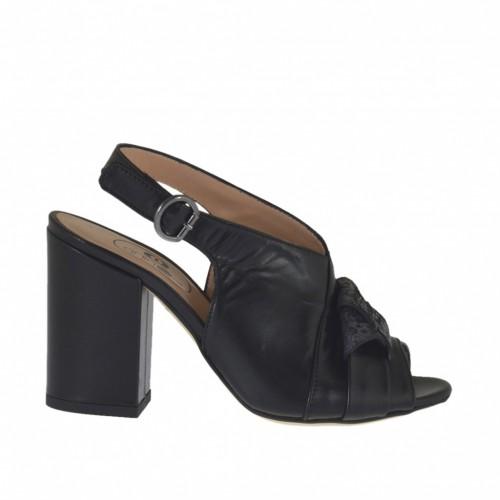Sandale pour femmes en cuir noir avec noeud en cuir imprimé holographique multicouleur talon 8 - Pointures disponibles:  32, 33, 34, 43, 44