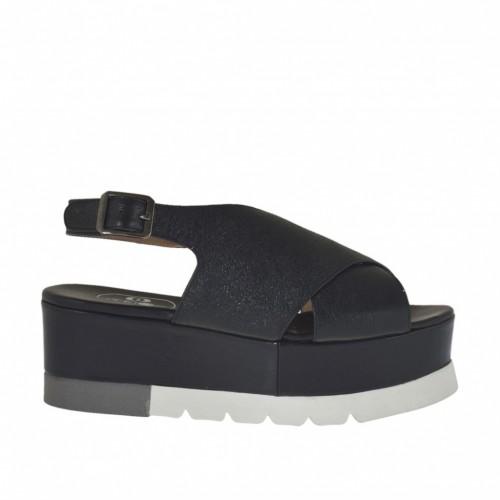 Sandale pour femmes en cuir lamé noir talon compensé 5 - Pointures disponibles:  34, 43, 44