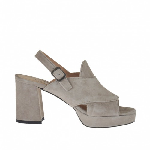 Woman's sandal in grey suede with platform heel 7 - Available sizes:  42, 44, 45