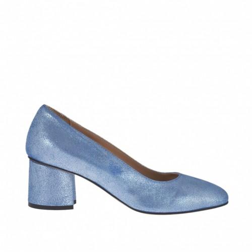Zapato de salon para mujer en piel laminada estampada azul claro tacon 5 - Tallas disponibles:  33, 34, 42, 43, 44, 45