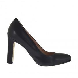 Damenpump aus schwarzem Leder mit innerem Plateau und Absatz 9 - Verfügbare Größen:  34, 42, 43, 44, 45