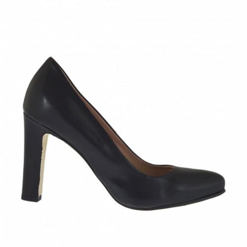Escarpin pour femmes en cuir noir avec plateforme interieur et talon 9 - Pointures disponibles:  34, 44