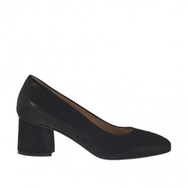 Woman's pump in black printed laminated leather heel 5 - Available sizes: 32, 33, 34, 42, 43, 45