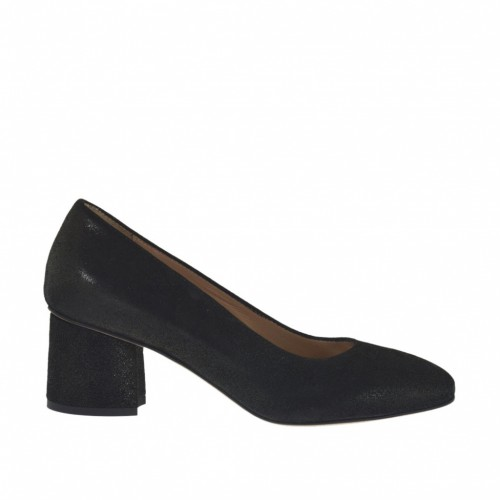 Woman's pump in black printed laminated leather heel 5 - Available sizes:  32, 33, 34, 43, 45