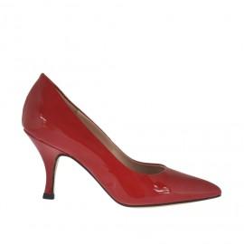 Decolté da donna in vernice rossa tacco a rocchetto 7 - Misure disponibili: 33, 34, 42, 43, 44