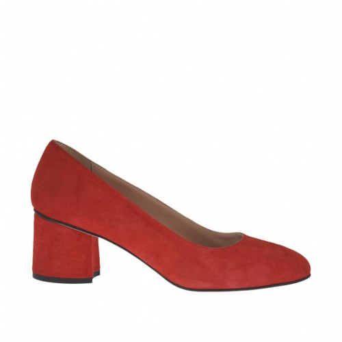 Woman's pump in red suede heel 5 - Available sizes:  32, 33, 43, 44