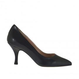 Zapato de salón para mujer en piel negra con tacon bobina 7 - Tallas disponibles:  32, 33, 34, 42, 44, 45