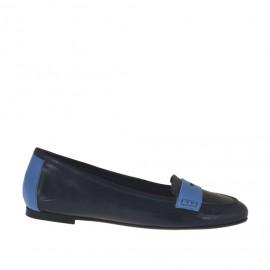 Mocasino para mujer en piel azul y azul claro tacon 1 - Tallas disponibles:  32, 33, 34