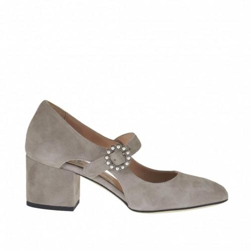Zapato de salon abierto para mujer con hebilla y perlas en gamuza gris perla tacon 5 - Tallas disponibles: 33, 34, 43, 45