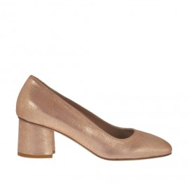 Woman's pump in copper printed laminated leather heel 5 - Available sizes: 32, 33, 34, 42, 43, 44, 45