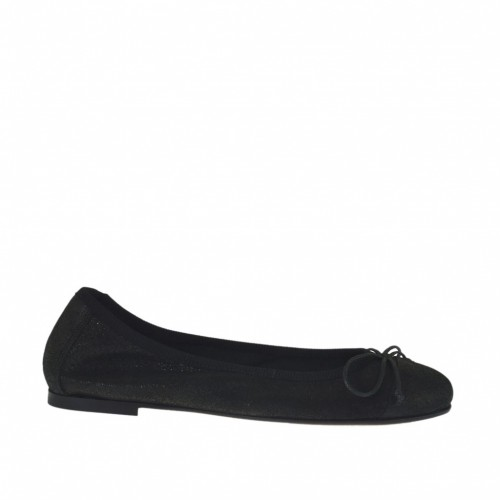 Woman's ballerina shoe with bow in black printed lamé leather heel 1 - Available sizes:  32
