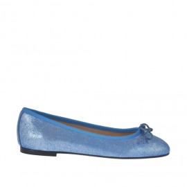 Woman's ballerina shoe with bow in light blue printed lamé leather heel 1 - Available sizes: 32, 33, 34, 42, 43, 44, 46