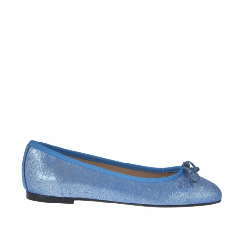 Woman's ballerina shoe with bow in light blue printed lamé leather heel 1 - Available sizes:  32, 34